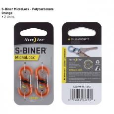 S-Biner MicroLock Plastová oboustranná karabina ve tvaru S – balení 2 kusy, barva oranžová