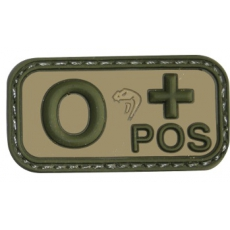 0 Pos - Viper Tactical Blood Group Rubber Patches VCAM / 5x2.5cm