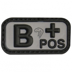 Nášivka na suchý zip B Positive - Viper Tactical Blood Group Rubber Patches Black/ 5x2.5cm