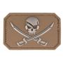 Nášivka na suchý zip MilTec SKULL&SWORDS Dark Coyote / 5,5x7,5cm