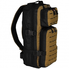 Batoh MFH Assault-Travel Laser / 30L / 23x44x18cm Black-coyote tan