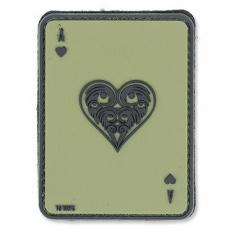 Nášivka na suchý zip 101 Inc. Ace Of Hearts - OD Green / 60x80mm